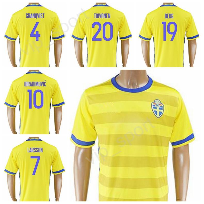 2019 2017 18 Sweden Jersey Soccer 10 Zlatan Ibrahimovic Football Shirt Kits  Thai Custom 9 Marcus Berg 19 BERG 20 TOIVONEN 7 LARSSON 4 GRANQVIST From ... 10d7b473b