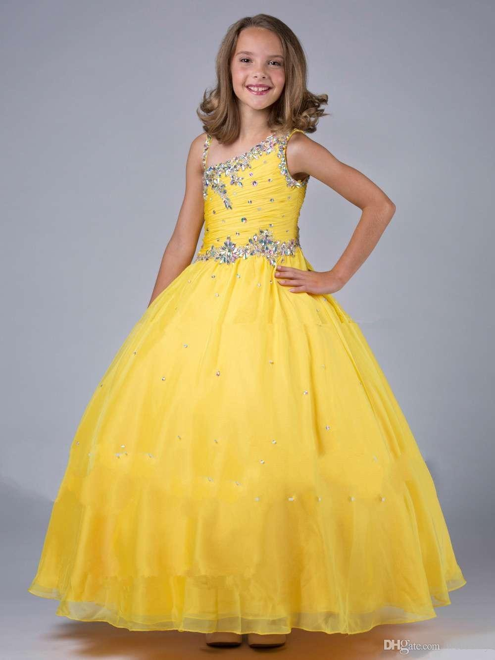 Pink Flower Girl Dresses Discount Cupcake Yellow Girls Pageant Dresses Girl Dresses for Ritzee Girls Pageant Gowns 2018 New Arrival HY1155