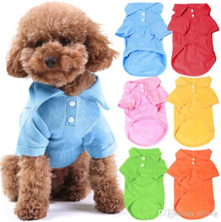 100% cotton pet clothes soft breathable dog cat polo T-shirts pet apparel for spring summer fall 6 colors 5 sizes in stock