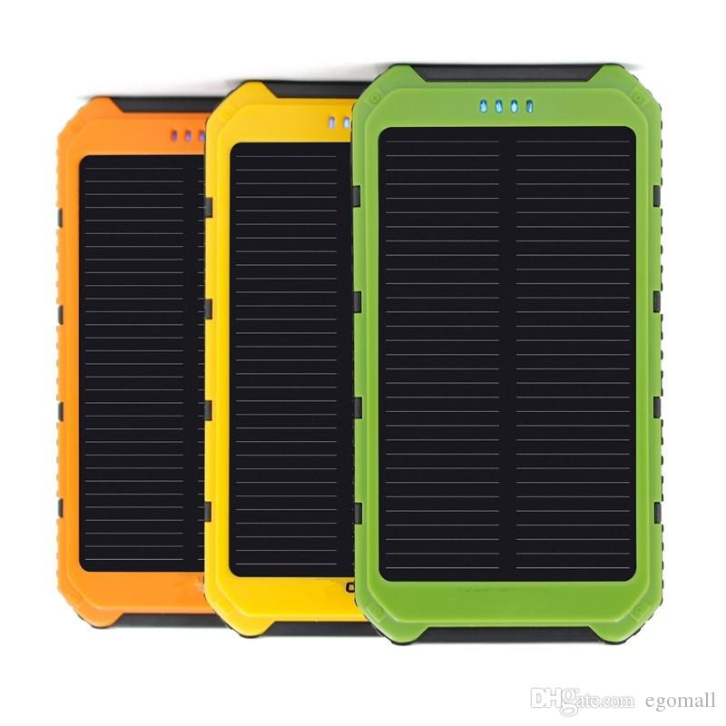 Universal 5000mAh Solar Charger Waterproof Solar Panel Battery Chargers for Smart Phone iphone7 Tablets Camera Mobile Power Bank Car Charger