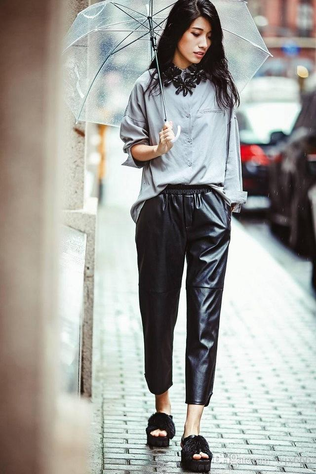 575f5fa15314e7 2019 2018 New Fashion Elastic Waist Haren Ladies Leather Pants Trendsetter  Nine Pants With Explosion Velvet Trousers From Wjx666, $27.04 | DHgate.Com
