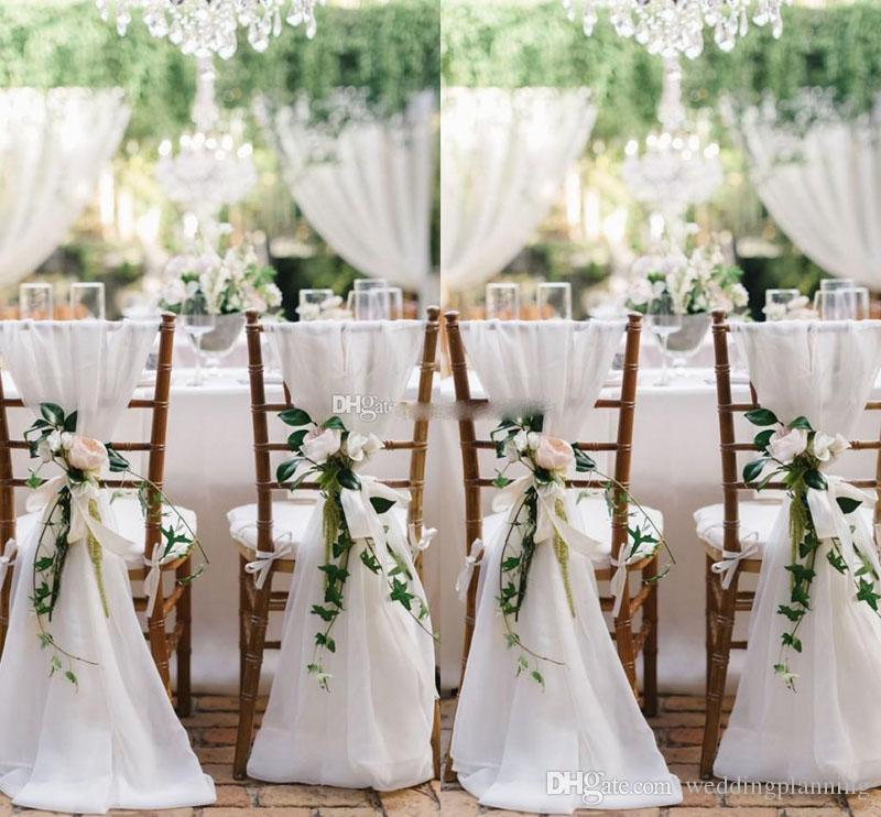 Besat Quality White Chiffon Chair Sashes Fast Shipping Party Chair Gauze Back Sash Chair Decoration Covers Party Wedding Suppies