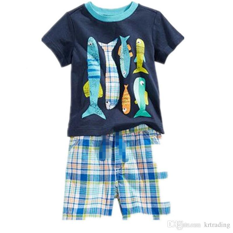 Kinder cartoon tiere pyjamas 2 stück set druck kurzarm top + plaids kurze hosen jungen mädchen dinosaurier fischkrabbe krake muster sommer tuch