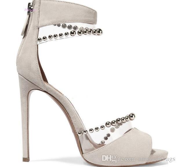 Neue Nieten Studded PVC Mix Farbe Schnalle Ferse Sandalen Hochzeit Schuhe Sandalen Sexy High Heels Pumps Sommer Frau Schuhe Stiletto