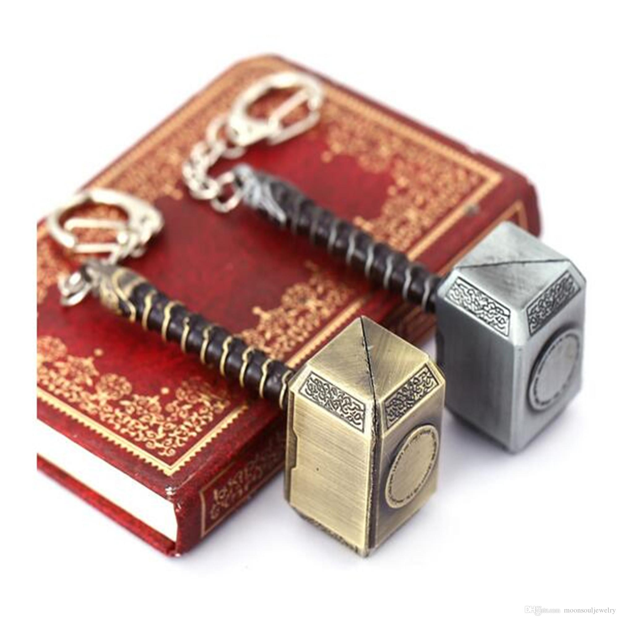 HSIC Thor Mjolnir Hammer Metal Keychain Mjolnir Figure Key Ring Gold Silver Pendant Men Llavero Jewelry Wholesale