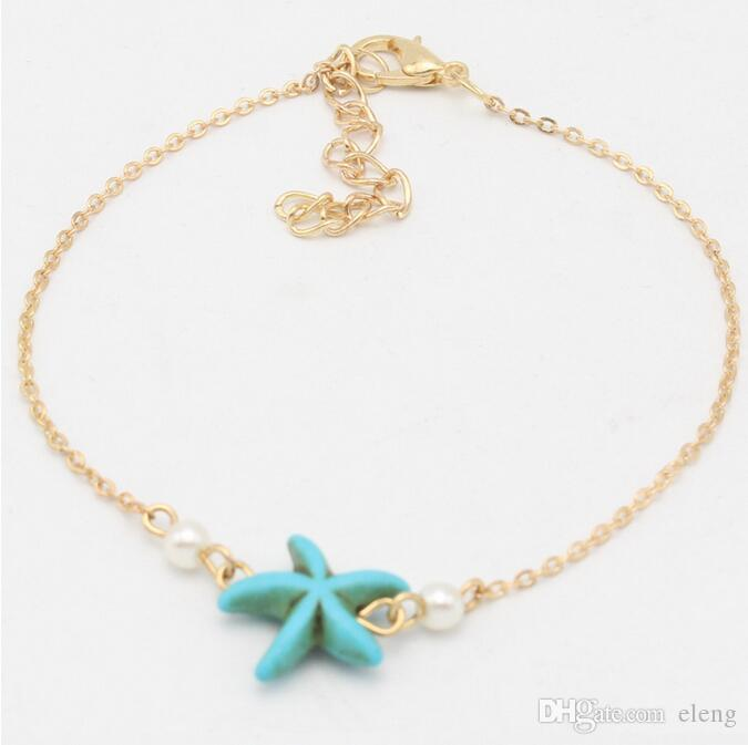 Unique Nice Chain women Anklet turquoise starfish pearl souvenir Ankle Bracelet Foot Jewelry Fast 5