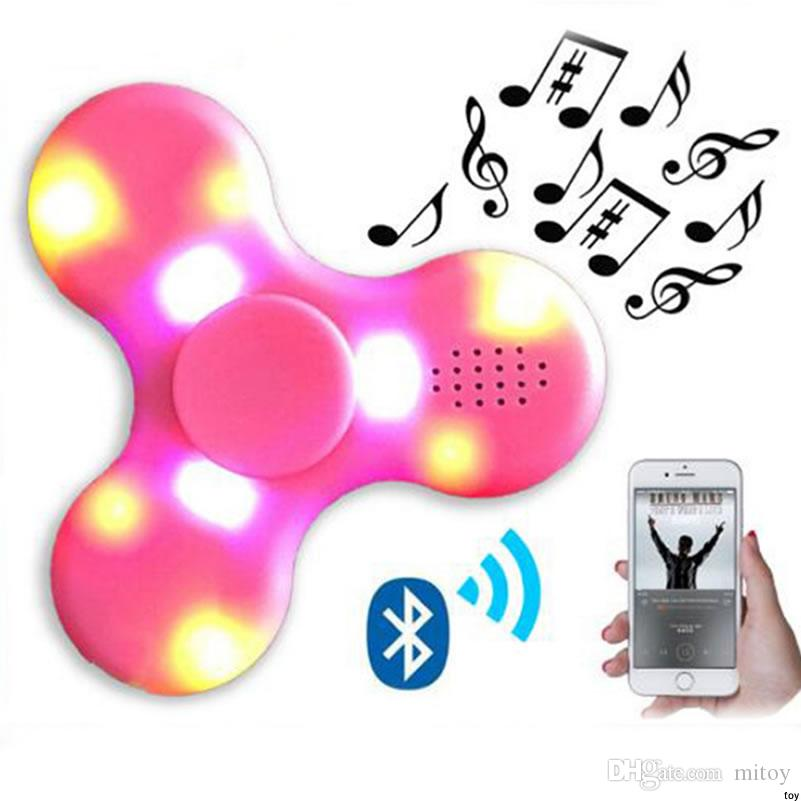LED lights fingertips gyro Bluetooth speakers triangle rotating night light on the spiral decompression toys creative