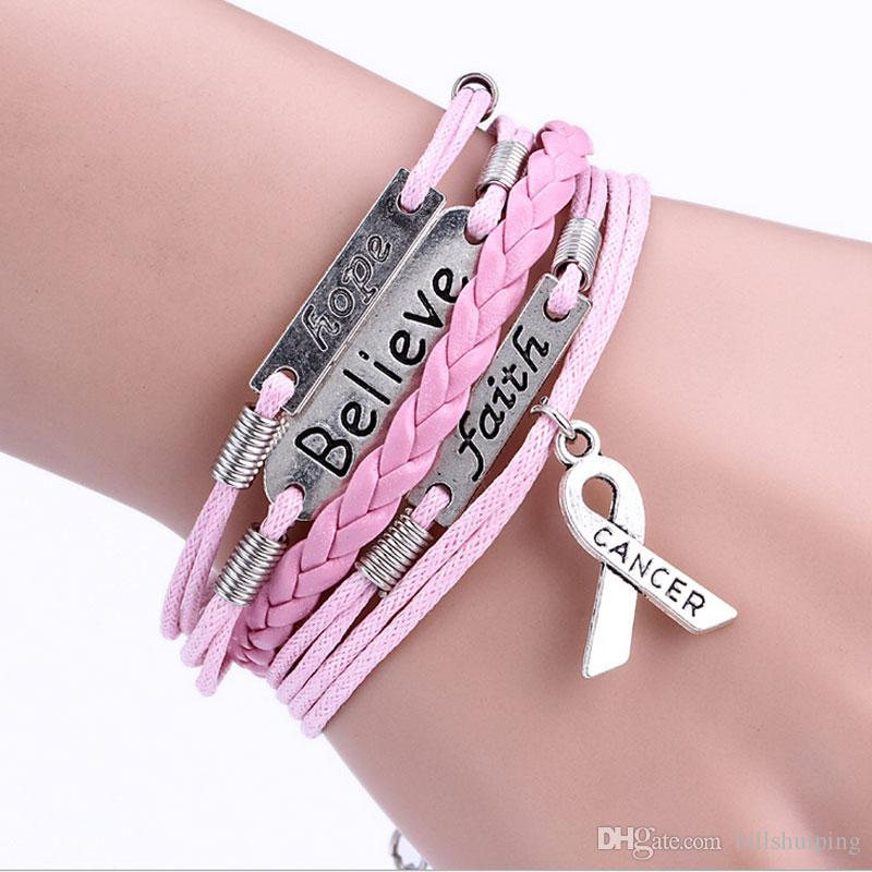 New Fashion Believe Faith Hope Breast Cancer Awareness Charm Bracelet Retro Personality Bracelets Handmade Jewelry