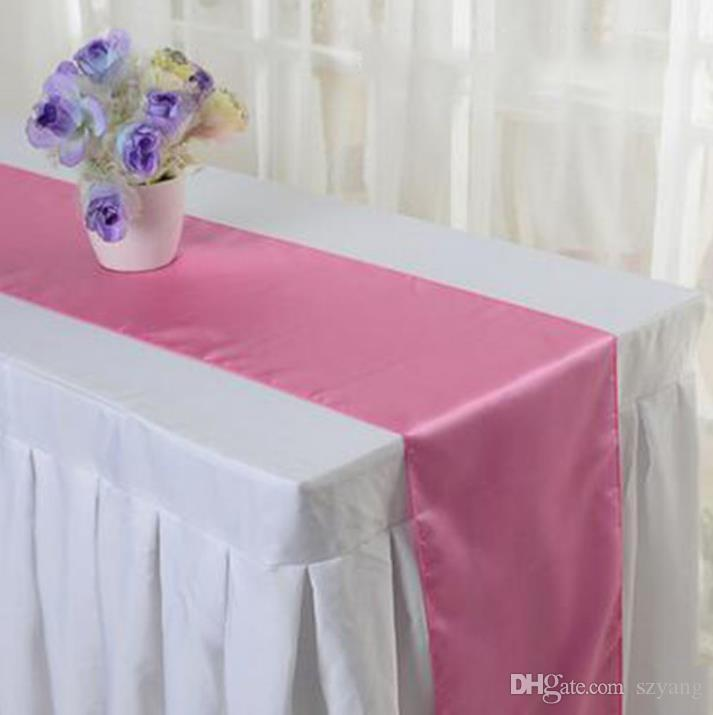 Table Runner Satin Table Runners for Wedding Satin Ribbon Cloth Table Runner Flag of Wedding Banquet Decors