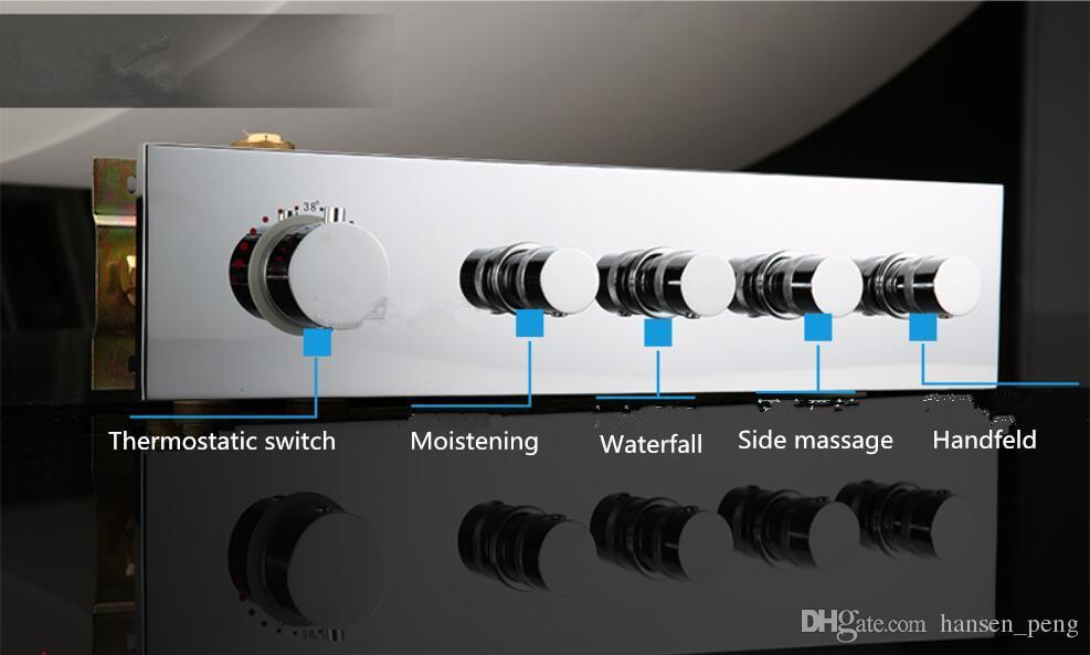 550X230mm Akıllı Lüks Tavan Muson duş Yağış şelale anahtarıTalmostatik vana ile Yanal masaj Sprey jetleri 8007