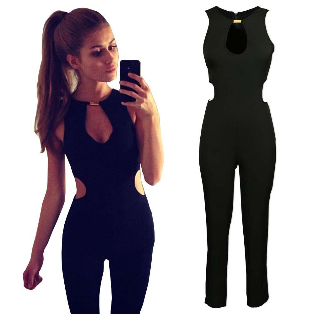 50a9a68a2ca 2019 Wholesale Summer Women Sexy Jumpsuit Overalls Casual Rompers V Neck  Sleeveless Party Clubwear Hollow Out Jumpsuits Backless Bodysuit YF309 From  Freea