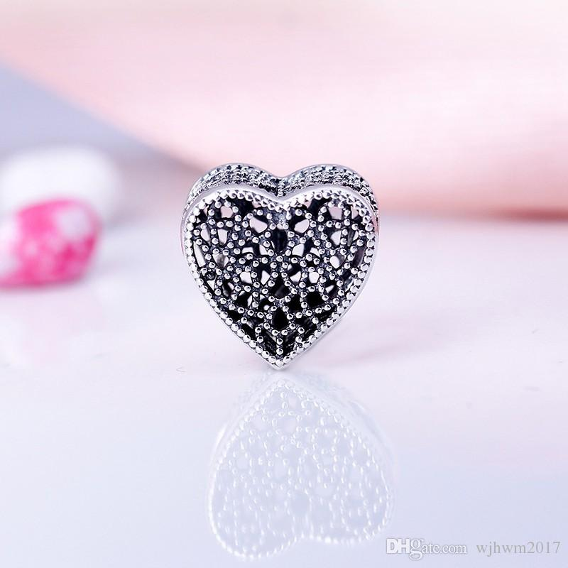 Filled with Romance Charms Beads 925 Sterling-Silver-Jewelry Openwork Heart Bead DIY Valentine's Day Brand Logo Bracelets Accessories