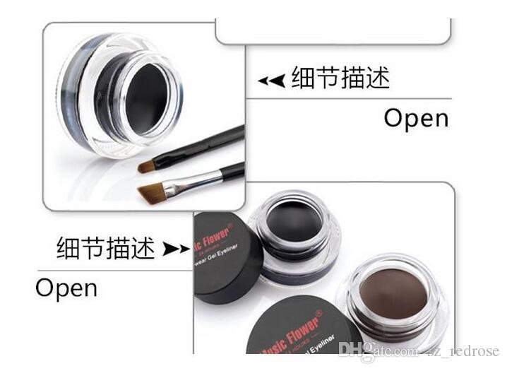 Music Flower Black + Brown Gel bicolore Eyeliner Sbavatura - Prova di acqua Eye Liner Eye Liner Eyeliner Gel Makeup Cosmetic + Brush M007