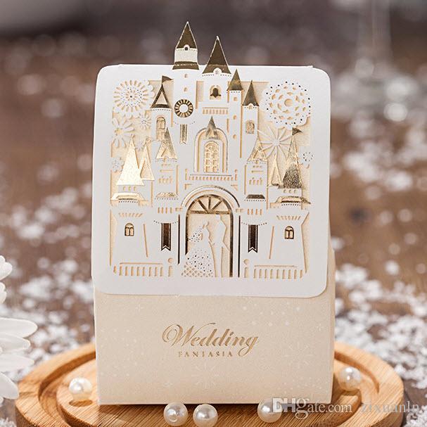 Romantic Shiny Gold Laser Cut Love Castle Wedding Gift Candy Favor