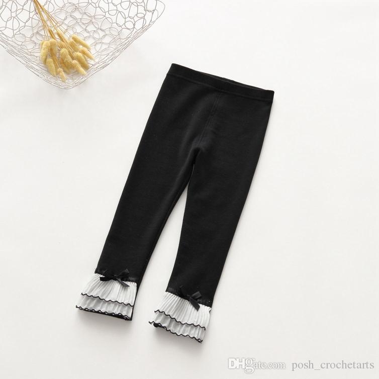 Basic Icing Pants for Girls 2017 Fall Cotton Frostings leggings for Children Ruffle Full Length Pants