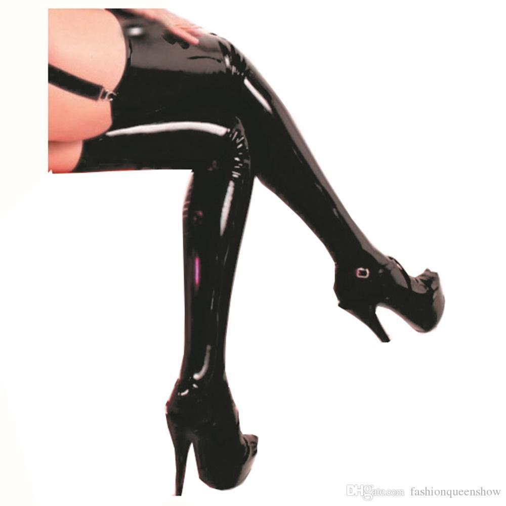 Chaud Femmes Sexy Tentant Bas Noir Brillant Simili En Cuir Wetlook Cuisse Haut Bas Pour Jarretière Ceinture Sexy Dames Sous-Vêtements Leggings