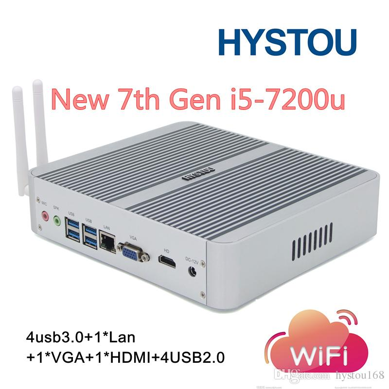 Hystou Fanless Mini PC Windows 10 TV Box HTPC Intel Core I5 7200U 8G RAM 64G SSD Gigabit LAN HDMI WiFi Nettop Micro Computer PC