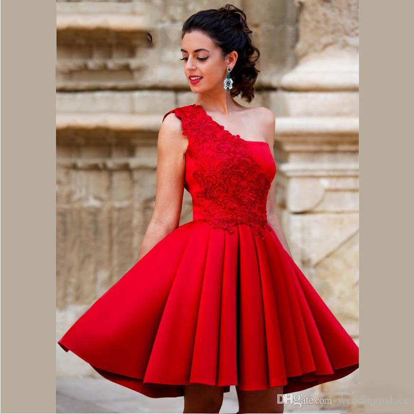 Chegada Nova Red Mini curta linha Vestidos Homecoming de um ombro bonito da festa de formatura Satin Vestidos Doce 16 Dresses