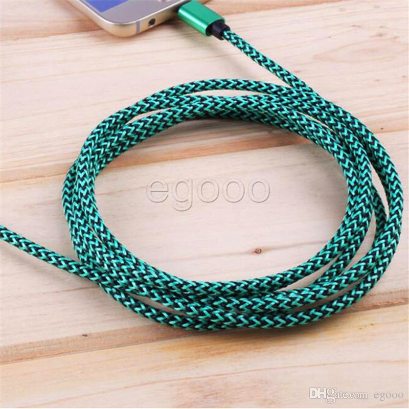 Trançada tecido Micro USB Cable 1M 3FT 2M 3M cabo de carregamento USB para celulares Samsung Galaxy S7 Borda S6 Borda LG