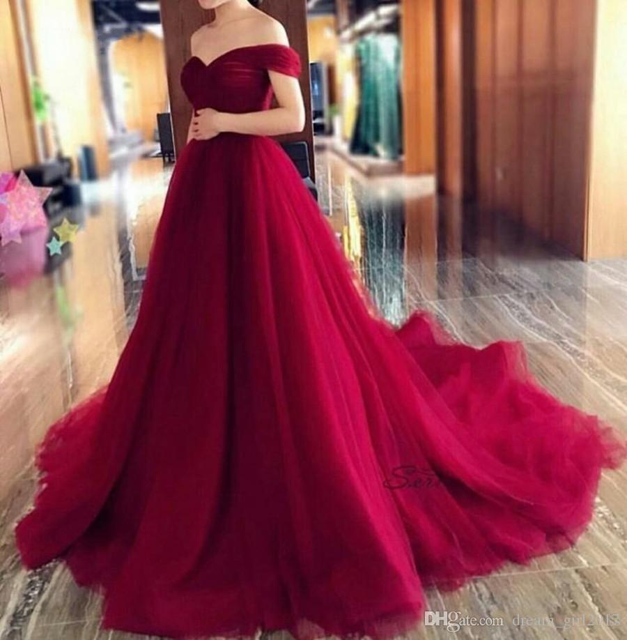 A-line Sweetheart Off Shoulder Evening Dresses Pleated Tulle Corset Long Burgundy Formal Gowns Court Train Party Wear