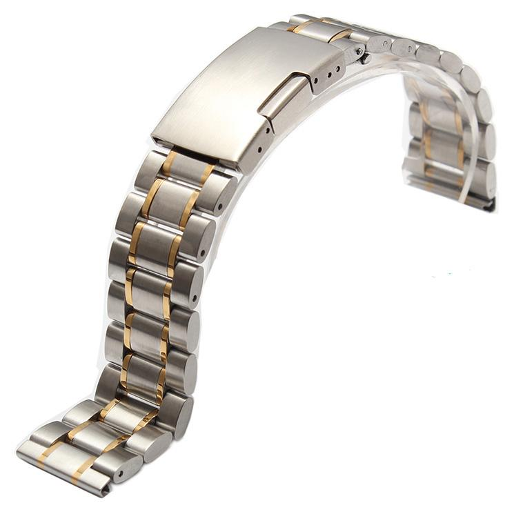Wholesale- 2016 Hot sale 18mm 19mm 20mm 21mm 22mm 24mm 26mm silver and gold new men metal band watch stainless steel bracelets straight end