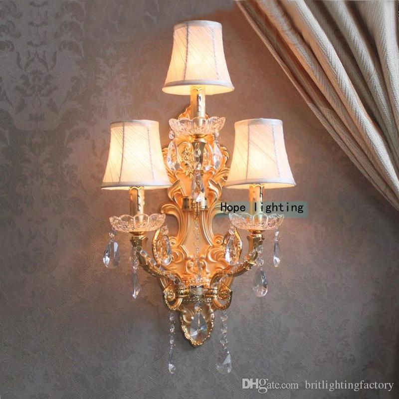 Moderne Kristall LED-Wandleuchten Schmiedeeisen Wandleuchte drei Lichter Große Leuchten für Hotel-Home-Spiegel Beauty Salon Boutique Bar Wandleuchte