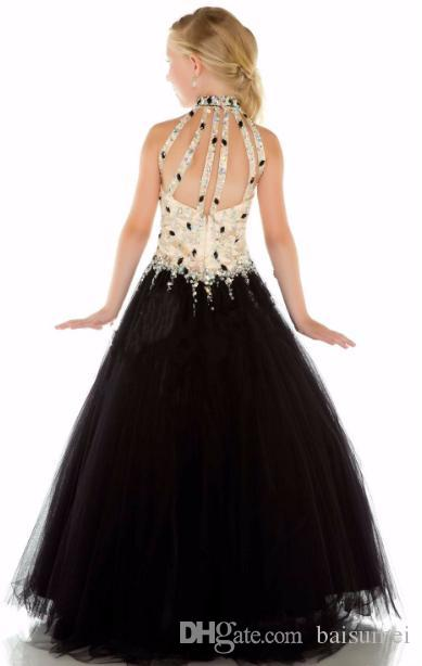 New simple Girls Pageant Dresses High Neck Black Crystal Beads Sequins Tulle Princess Dresses Size customization