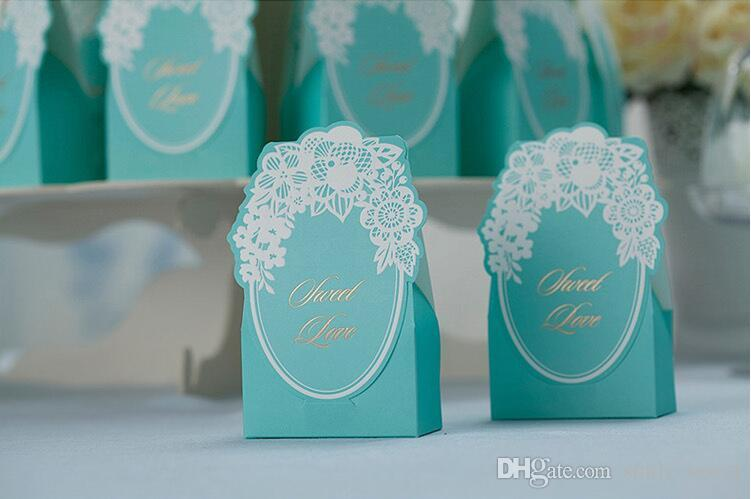 European Blue Wedding Favor Boxes with White Lace Decorations Elegant Party Candy Boxes Package Hot Sale Fashion Party Favors