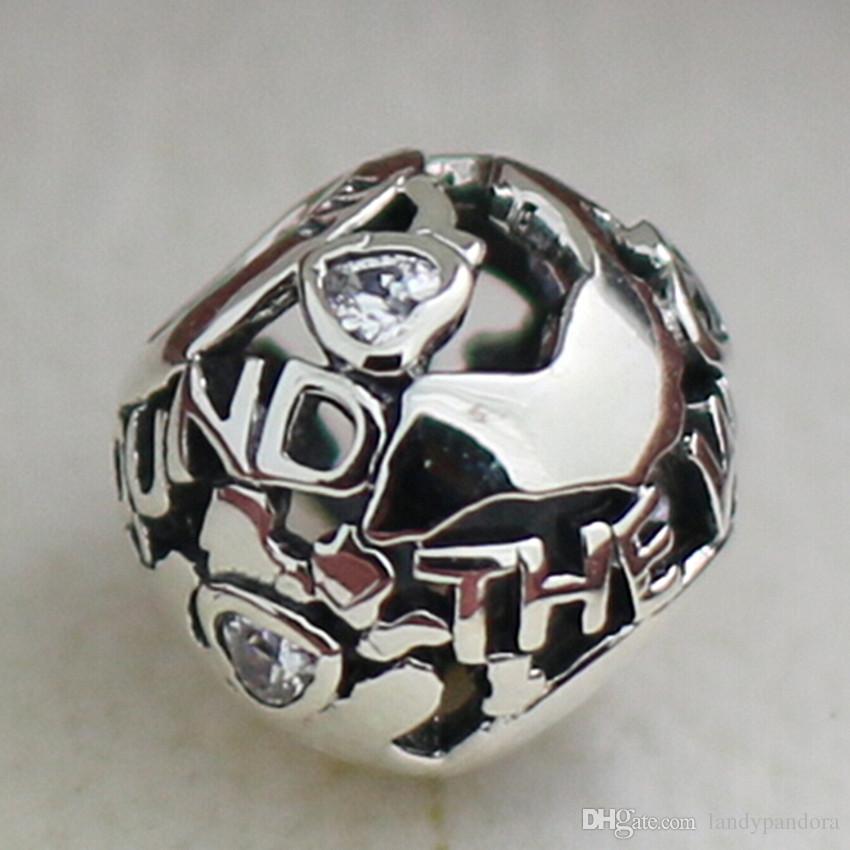 Во всем мире Шарм S925 стерлингового серебра шарик с ясно Cz подходит Европейский Pandora ювелирные изделия браслеты ожерелья кулон