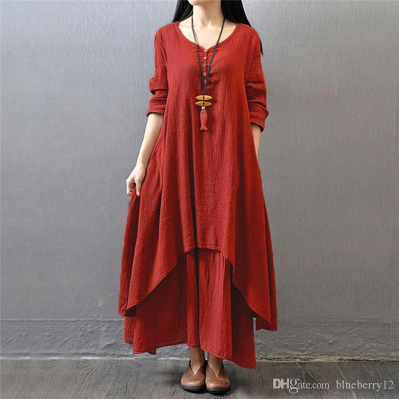16ddb545a19e2 Wholesale Fashion Women Autumn Cotton Linen Boho Solid Long Maxi Dress  Casual Loose Long Sleeve V Neck Dress Vestidos Plus Size Hot Gown Casual  Dresses From ...