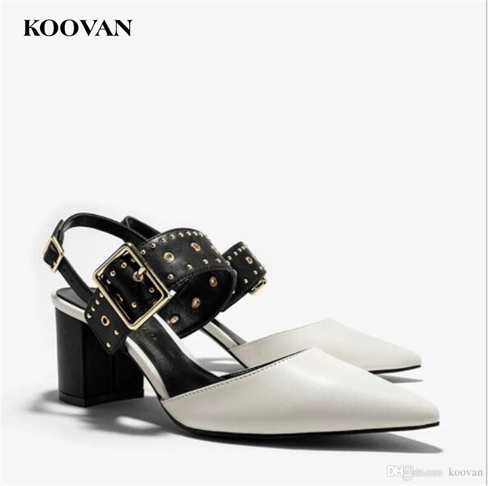 9074f96bf Koovan Fashion Women Sandals 2017 New Summer Punk Style Chunky Heel Ladies  Shoes Genuine Leather Rivet Buckle High Heel Sandals W117 Wedges Shoes Nude  Shoes ...