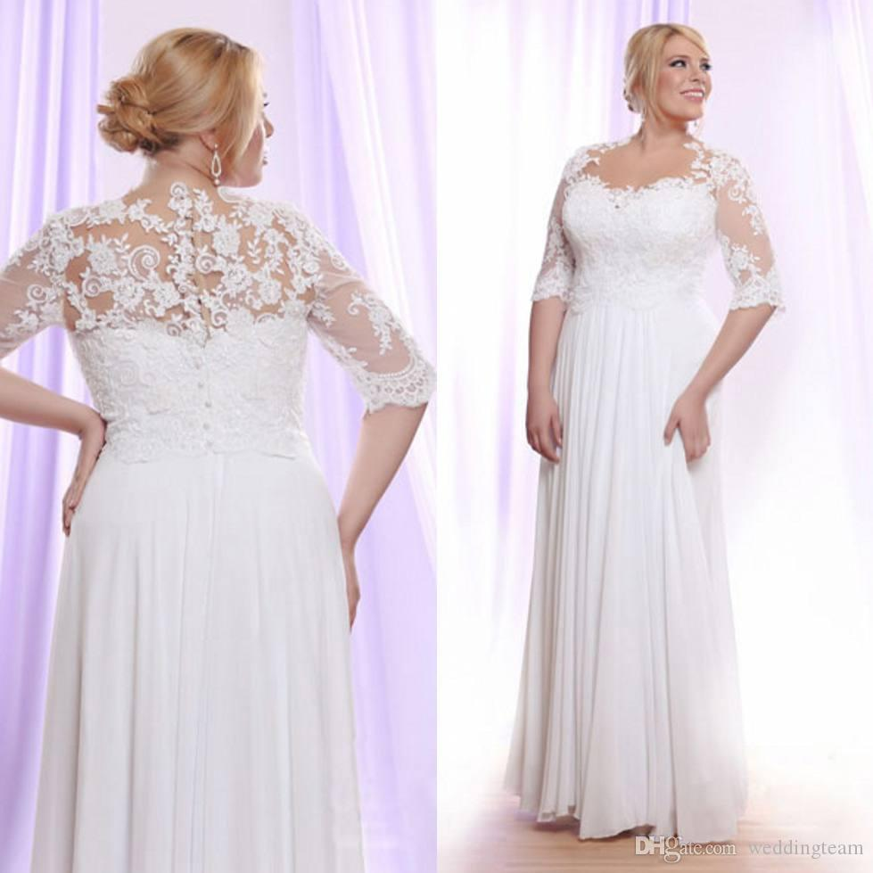 White Lace Plus Size Wedding Dresses With Sleeves Sheer Bateau Neck A Line Bohemian Wedding Dress Floor Length Chiffon Beach Bridal Gowns