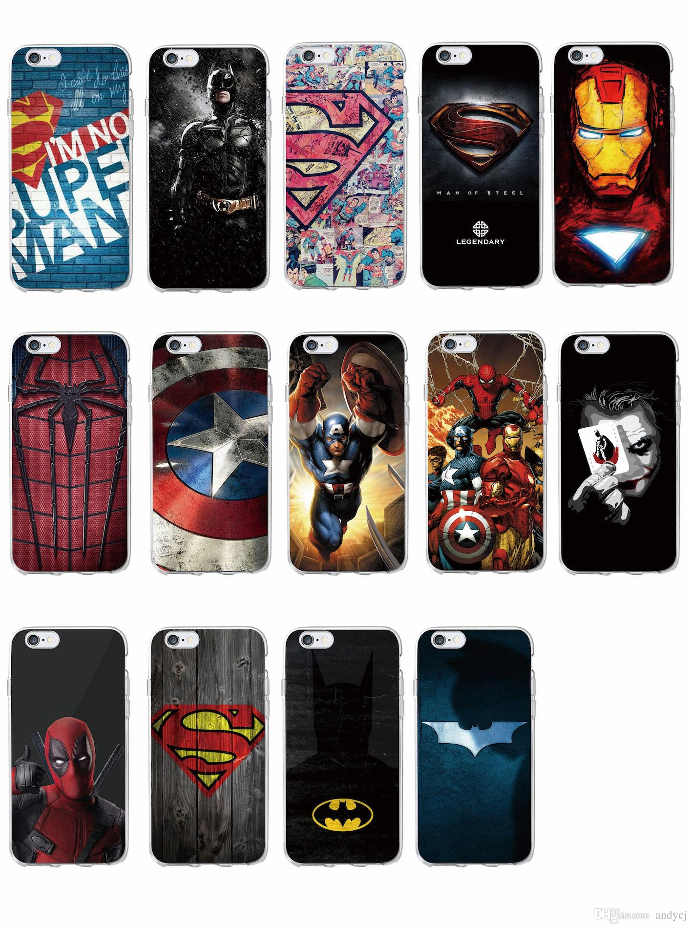 Superm Batman Iron Man Deadpool Spider Man Joker Avenger Soft Phone Case  For IPhone 7 7Plus 6 6S 6Plus 5 5S SAMSUNG Cell Phone Pouches Customized  Cell Phone ... 749fec5f342