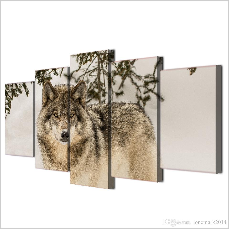 Framed HD Printed Wolf Snow Field Modern Wall Pictures Home Wall Decor Poster Canvas Painting