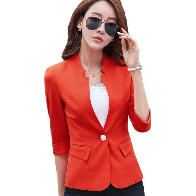 Compre Tallas Grandes 3XL Chaqueta De Mujer Blazer Para Mujer Estilo Coreano  Traje De Negocios Media Manga Chaquetas Para Mujer Elegante Blaser Mujer ... 66c0eb7f2af2