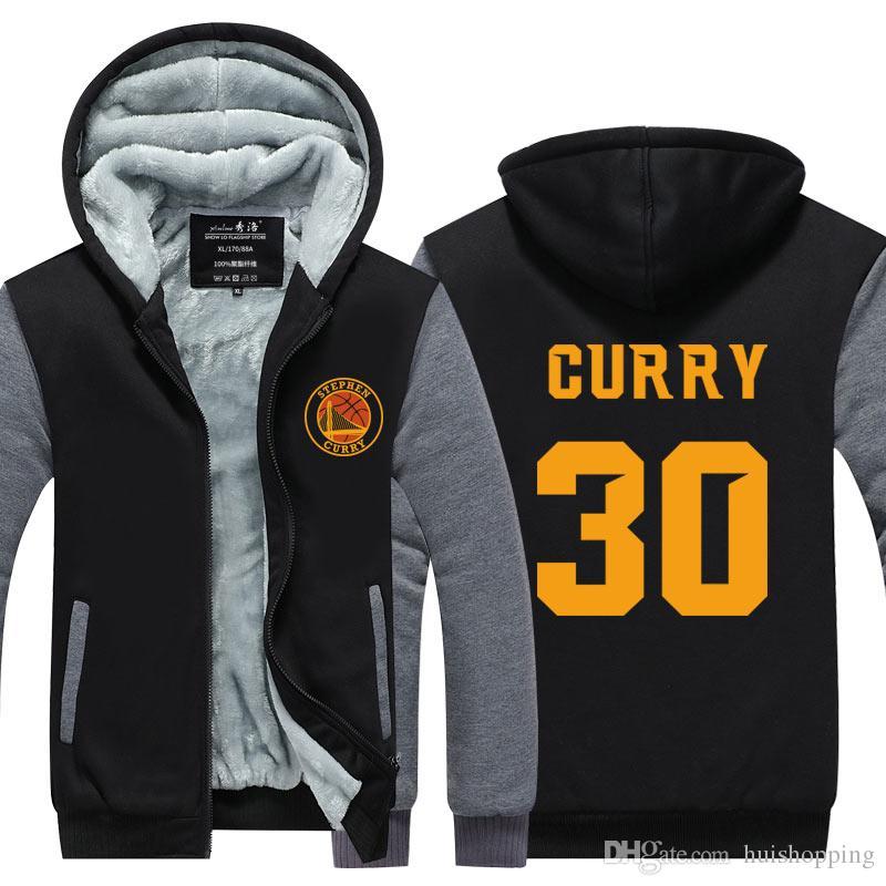 the best attitude 9ff0f 34691 New Letter Print Men s Winter Hoodies Stephen Curry 30 MVP Printing Thicken  Zipper Coats USA EU size Plus size