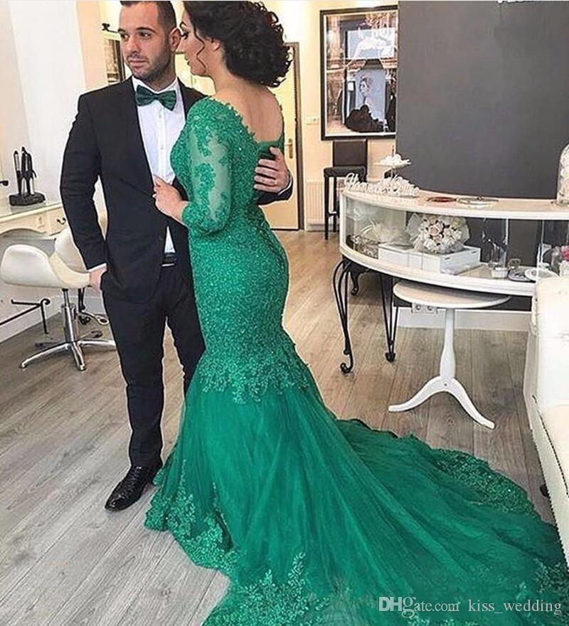 Exquisite Arabic Green Evening Dresses Mermaid Lace Long Sleeves Womens Formal Gown Dubai Style Corset Back Prom Dress Plus Size