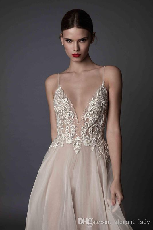 Sexy Ivory Berta Evening Dresses Deep V Neck Spaghetti Straps Embroidered Chiffon Backless Summer Illusion Long Prom Dresses