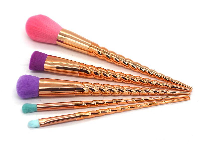 Mais novo Tarte Maquiagem Pincel Conjunto de Ferramentas Escovas de Ouro Coloful Pincel de Maquiagem BB Creme Blush Em Pó Escova 5 pçs / set