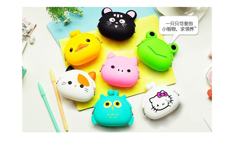 Great Quality Mini Lovely Cortoon Coin Bag with 26 different Cartoons For Silica gel hand bag