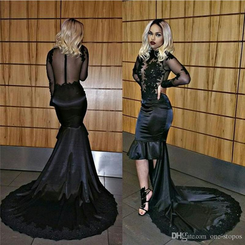 2017 African Black High Low Mermaid Evening Dresses Sexy Sheer Backless Lace Appliques Beaded High Neck Long Sleeves Prom Celebrity Gowns