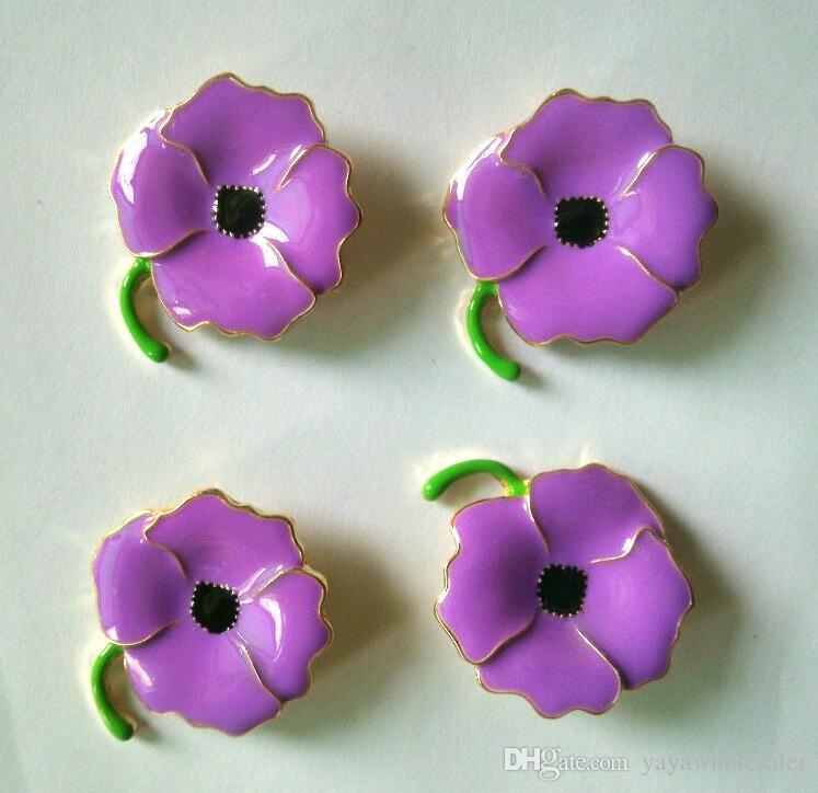 Venta al por mayor diseño personalizado púrpura esmalte amapola broches Pins para el recuerdo del héroe regalos día insignia regalos 2.8 * 2.8 CM venta caliente en stock