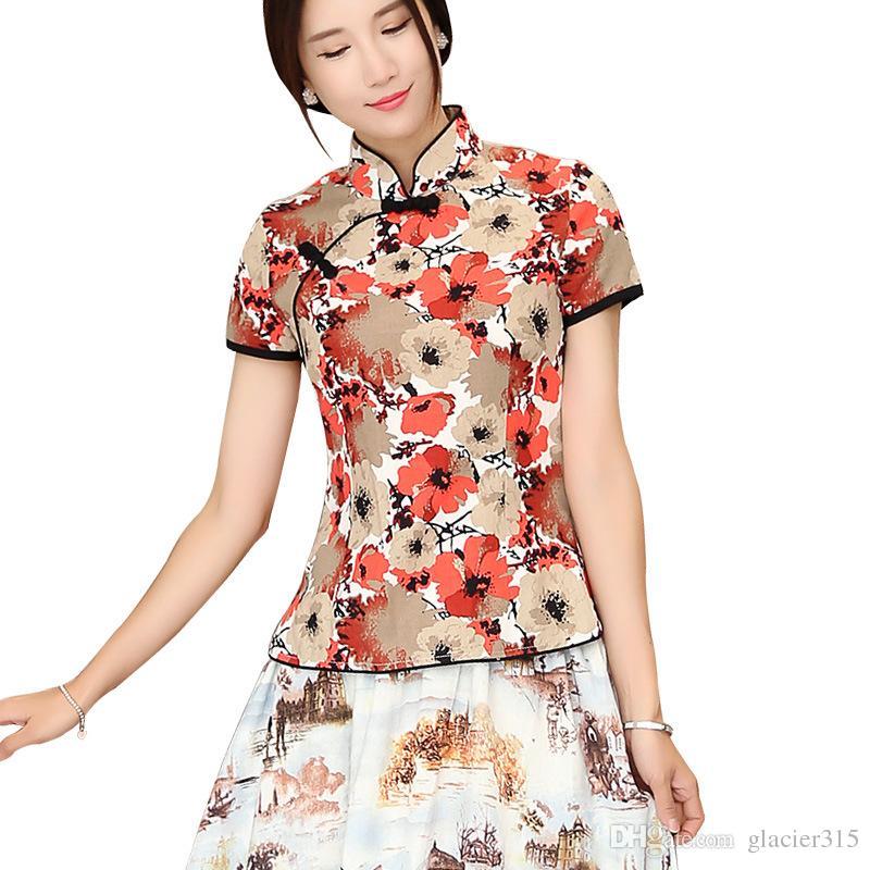 bce04ba83c0f Camisa Qipao de Shangai con cuello mandarín para mujer blusa de manga corta  con parte superior de cheongsam y blusa de lino tradicional china
