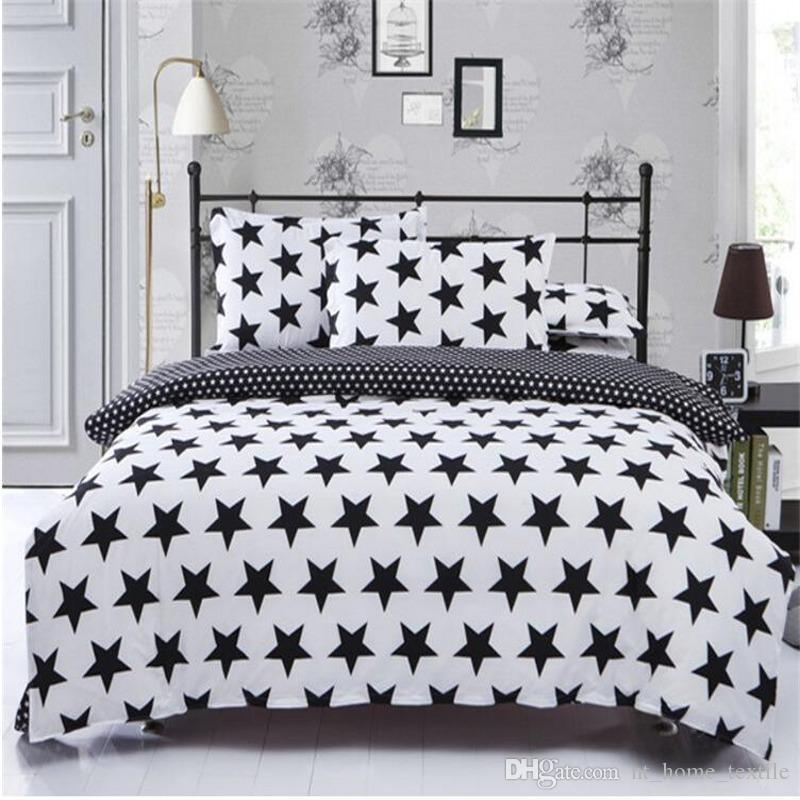 Black White Star Pattern Printing Bedding Sets Twin Queen Super