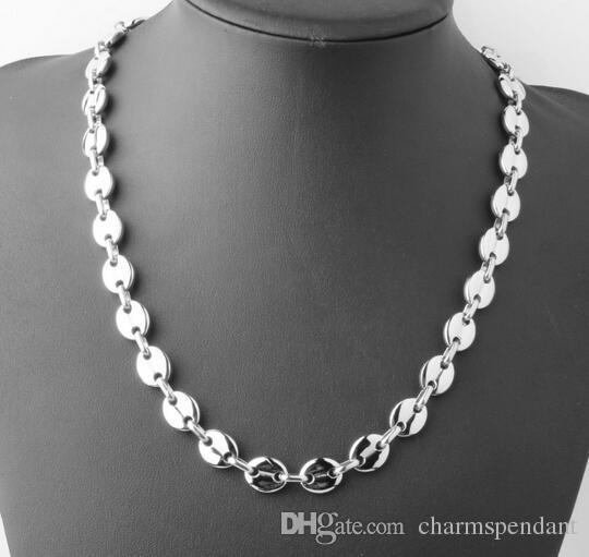 سعر لطيف نقية الفولاذ المقاوم للصدأ الأزياء Slver لهجة حبوب البن سلسلة قلادة 10.5 ملم 24 '' عالية مصقول للمجوهرات الرجال