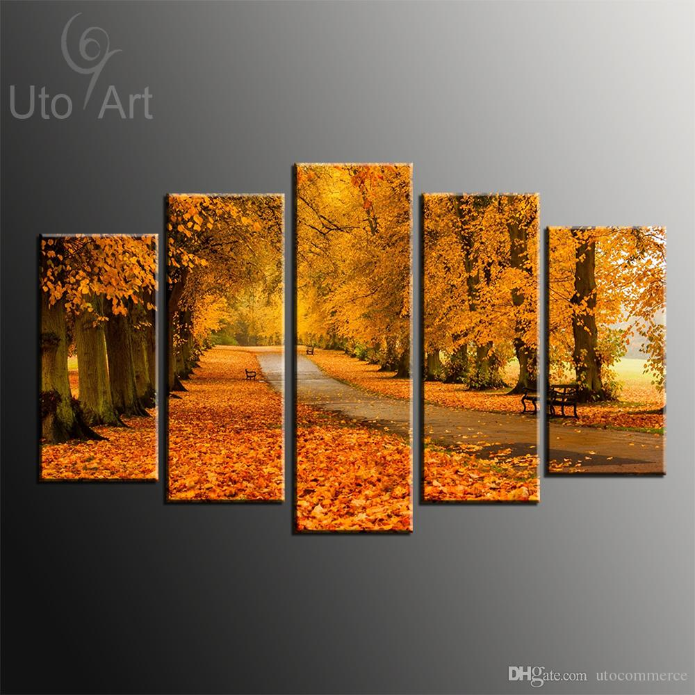 Modern Modular Paintings on Canvas 5 Panel Wall Art Painting of Yellow Tree Avenue Digital Painting Custom Canvas Prints Home