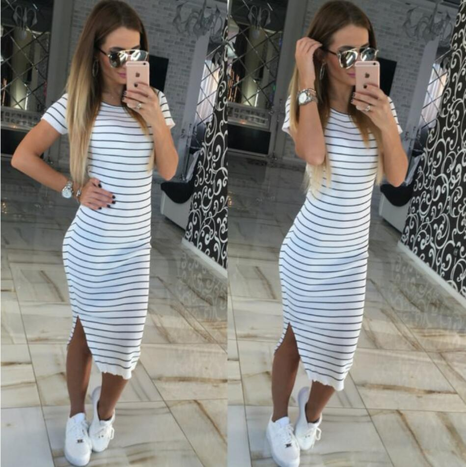 2019 Wholesale Summer Plus Size Clothes Black And White Striped ...