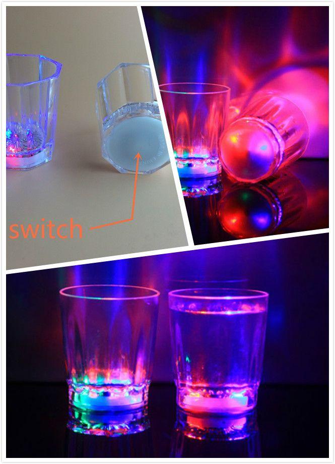 Mini luz luminosa LED pequeña copa de vino colorida barra de concierto KTV especial Drinkware intermitente bebida plástica copa de vino taza decorativa