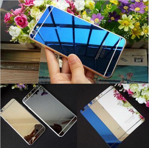 Electroplate Gold Mirror Temper Glass Phone coloré pour IPhone 6 6s Plus Film de protection d'écran avant et arrière avec la boîte d'emballage de détail