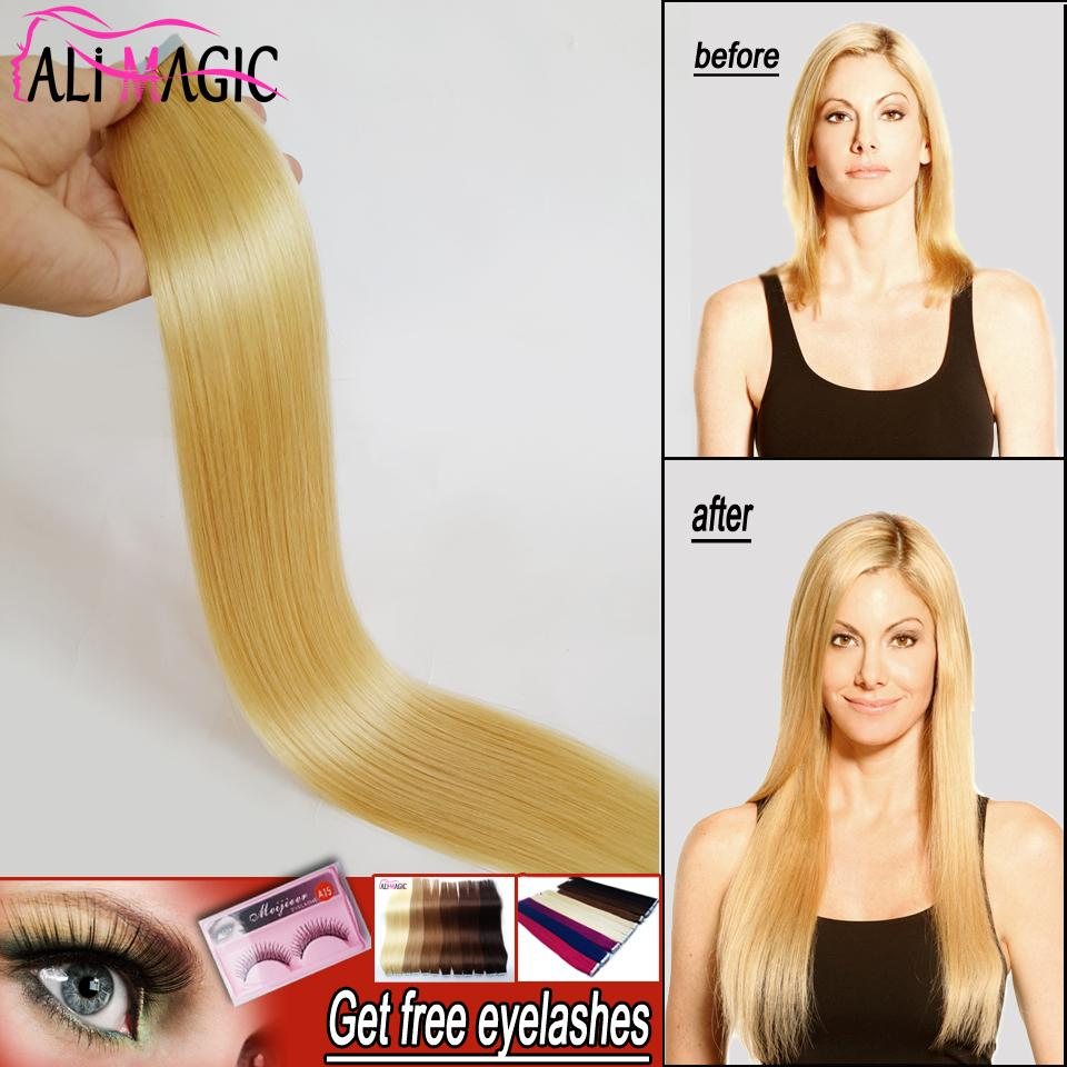 New Pu Skin Weft Straight Tape In Hair Extensions Remy Blonde Human